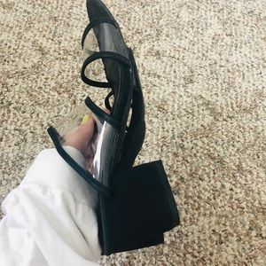 Lulu Belle Shoes - NWOB black and Clear Block Heels